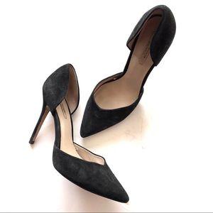 Zara Woman Black Suede d'Orsay Pumps Heels